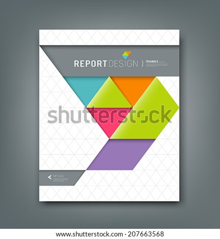 Cover report colorful origami paper triangle background, vector illustration - stock vector
