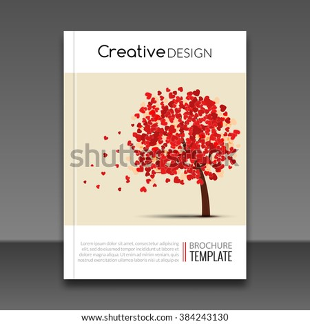 Cover report flyer colorful tree with hearts prospectus design background, cover flyer magazine, brochure book cover template layout, vector illustration. - stock vector
