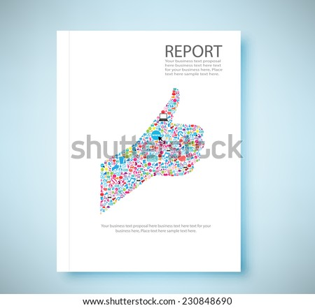 Cover report Like symbol social network background with media icons, vector illustration - stock vector