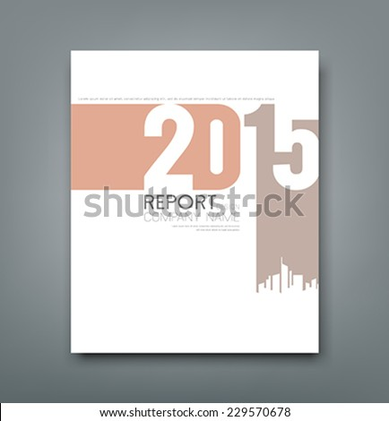 Cover Report number 2015 and silhouette building design background, vector illustration - stock vector