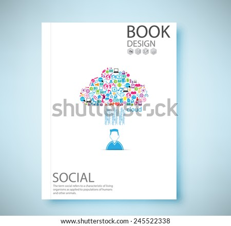 Cover report social network background with media icons, vector illustration - stock vector