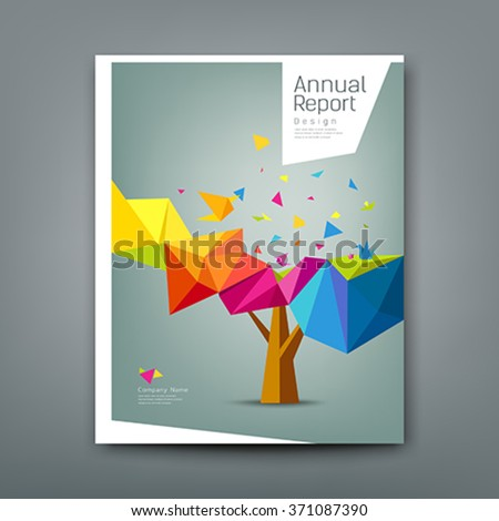 Cover report tree colorful geometric with bird paper concept design background, vector illustration