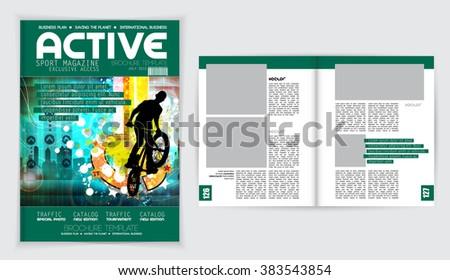 Cover sport active magazine, vector - stock vector