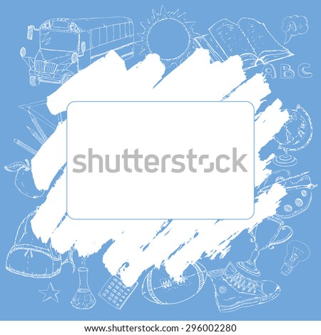 Cover template for a card, diary, notebook or school related project. Hand drawn icons set with school bus, backpack, apple, school supplies, and more. Back to school concept. Vector Illustration. - stock vector