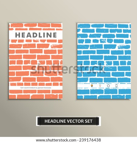 Cover vector book with background color brickwork. - stock vector
