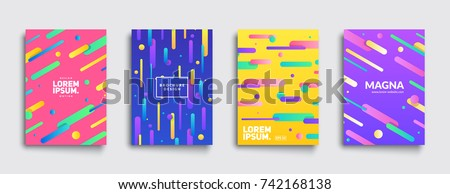 Covers with geometric pattern. Shapes with gradients composition. Eps10 vector template.