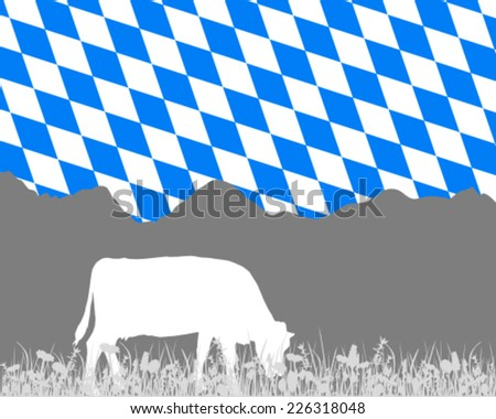 Cow alp and bavarian flag - stock vector