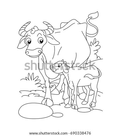 Cow Calf Coloring Page Stock Vector 690338476 - Shutterstock