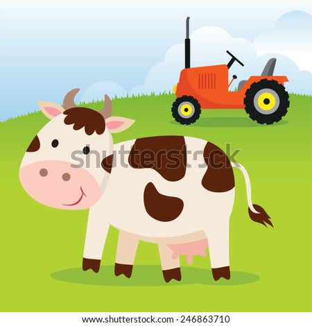 Cow and farm tractor. Cow and tractor on a farm field. - stock vector