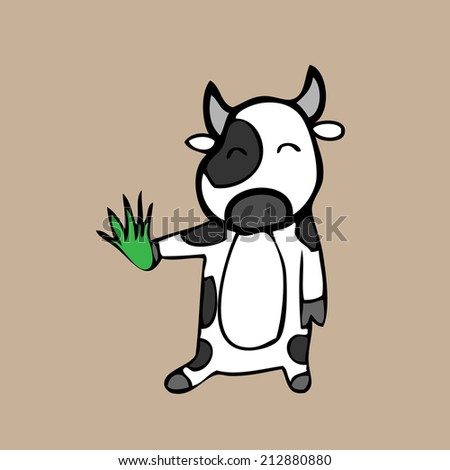 Cow and grass cartoon character - stock vector