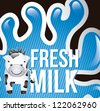 cow and milk cartoon over splash background. vector - stock vector