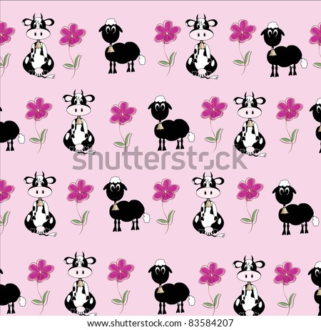 cow and sheep design background - stock vector