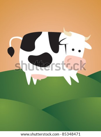 cow at hill - stock vector