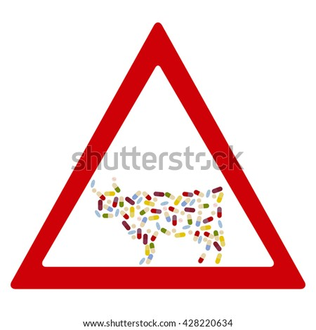 Cow by  drug pills in traffic forbidden sign concept. Vector illustration for antibiotic resistance, modern pharmacology in cattle breeding, excessive medication of domestic animals - stock vector