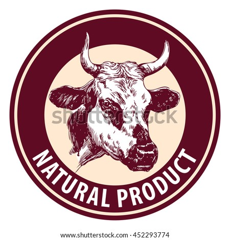cow hand drawn vector llustration sketch. logo design template. farm icon