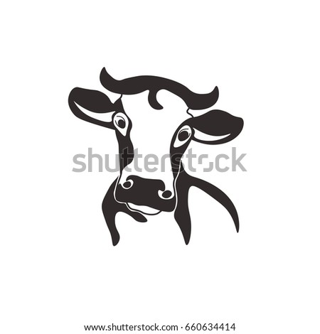 holstein cow portrait stylized vector symbol stock vector