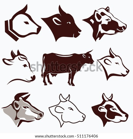 Cow Head Portraits Collection In Different Styles, Design Elements For Label