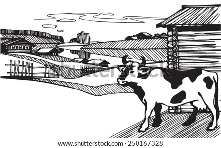 Cow. Illustration. Line. Vector Vector image. Rural landscape with cow. - stock vector
