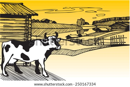 Cow. Illustration. Line. Vector. Yellow Vector image. Rural landscape with cow - stock vector