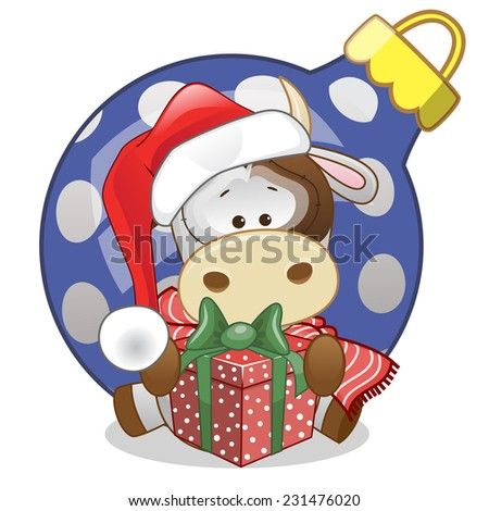 Cow in a Santa hat with gift  - stock vector