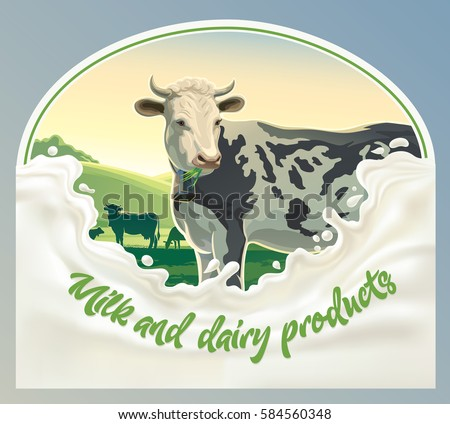 Cow, in frame from splash of milk against the background of a rural landscape. Vector illustration.