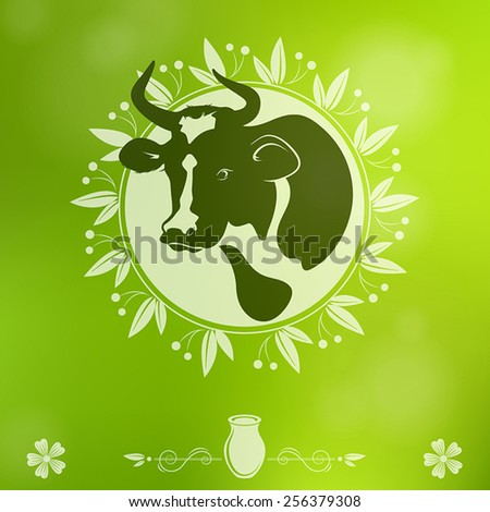 Cow logo on a green background - stock vector