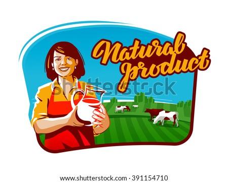cow milk vector logo. milkmaid, farmer or farm icon - stock vector