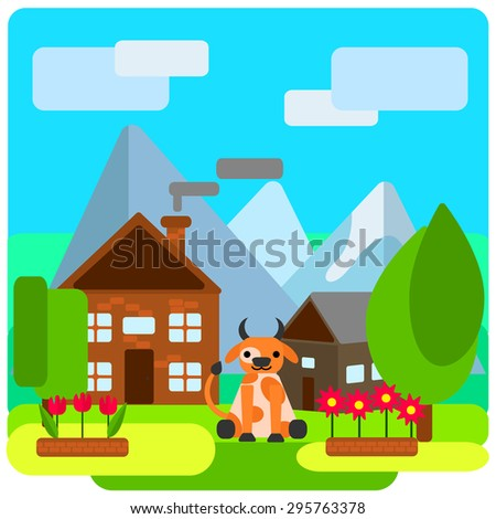 Cow on a farm near the house on a background of mountains and sky with clouds, near the flower beds and trees. Vector illustrations