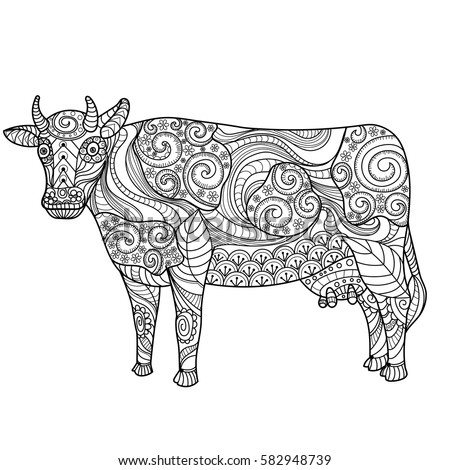 Farm Animal Freehand Sketch For Adult Anti Stress Coloring Book
