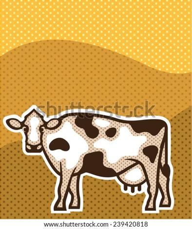 Cow Pop Art - stock vector