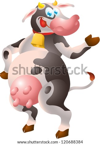 Cow presenting - stock vector