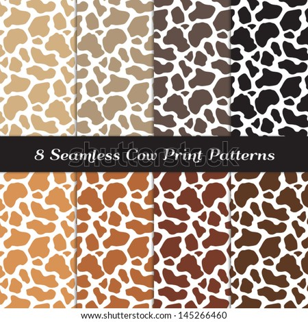 Cow Print Seamless Patterns in 8 Natural Colors. Perfect for Milk or ice-cream ad background. Pattern Swatches made with Global Colors - easy to change all patterns in one click. - stock vector