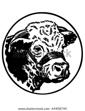 Cow's Head - Retro Clipart Illustration - stock vector