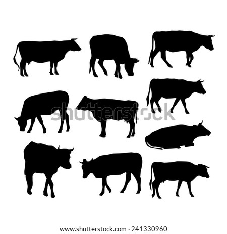 cow set black silhouette on white background. vector - stock vector
