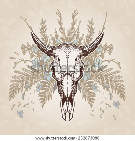 Cow skull on a flower background. Contains transparent objects - stock vector
