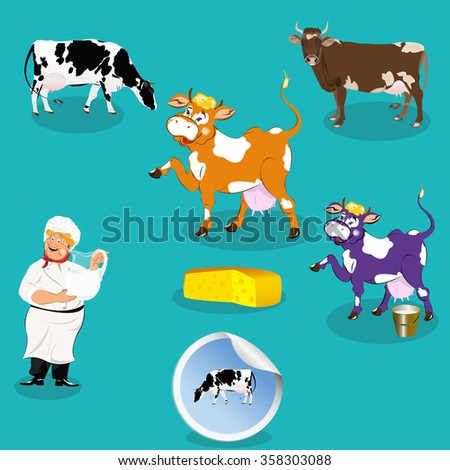 Cow,smiling milkman,sticker dairy product,vector icon. - stock vector