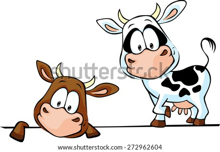 cow standing and peeks out from behind a white surface - vector illustration - stock vector