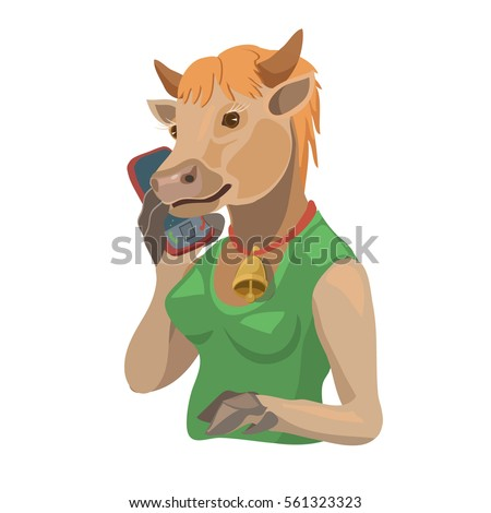 Cow talking on a cell phone