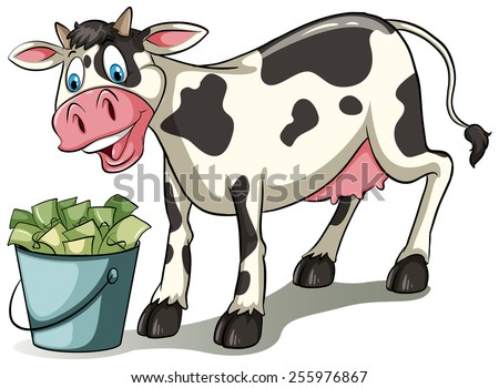 Cow watching the pail full of money on a white background