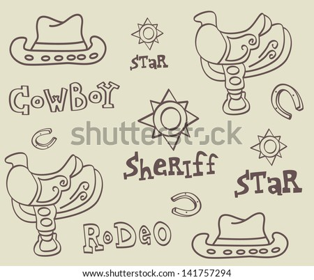 Cowboy accessories vector illustration