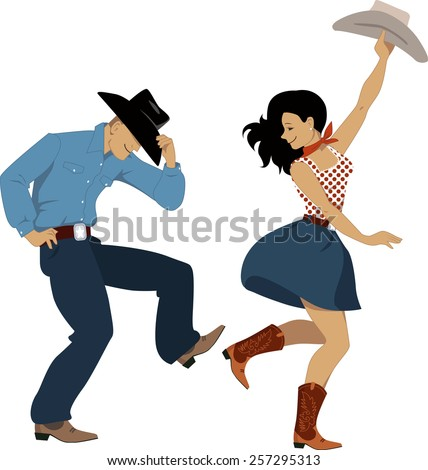 Cowboy Cowgirl Dancing Country Western Dance Stock Vector HD ...