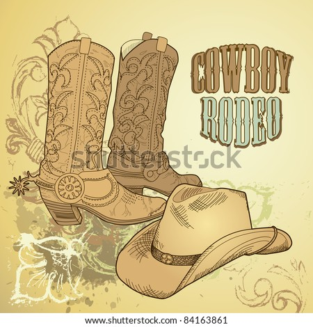 Cowboy background - stock vector