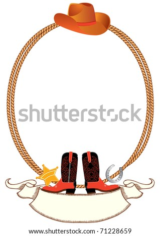 Cowboy background for design with lasso and cowboy elements.Vector - stock vector