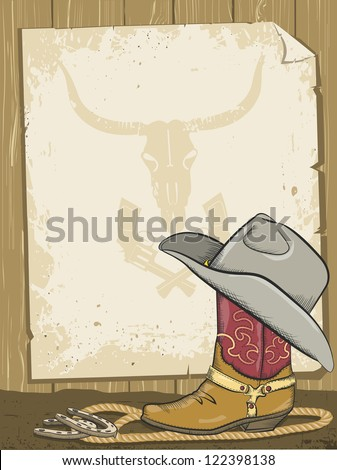 Cowboy background with boot and paper - stock vector
