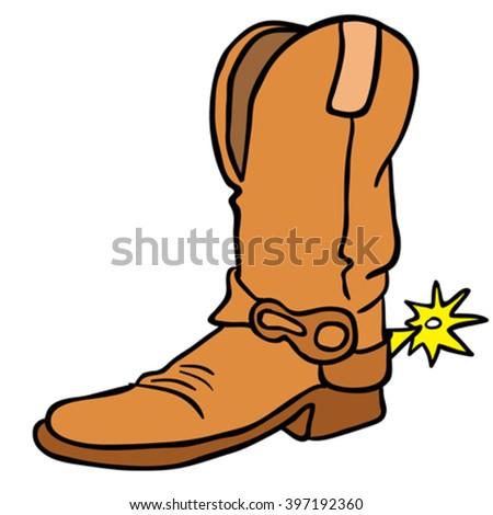 cowboy boot cartoon stock vector 397192360 shutterstock rh shutterstock com cartoon cowboy boots and hat cartoon cowboy boot round cake topper