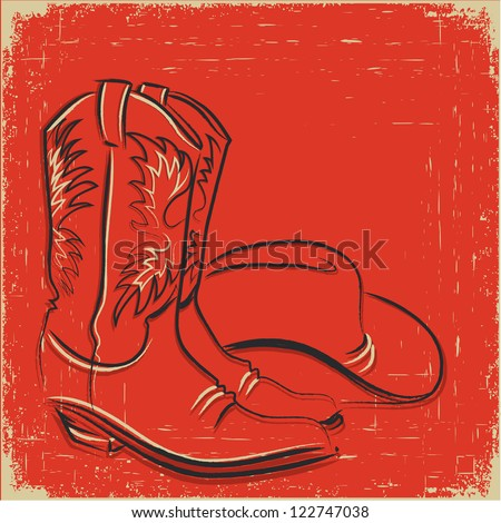 Cowboy boots and western hat .Sketch illustration - stock vector
