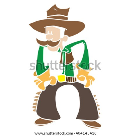 cowboy cartoon - stock vector