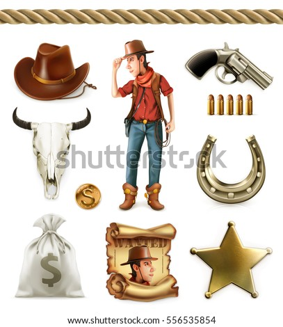 Cowboy cartoon character and objects. Western adventure 3d vector icon set
