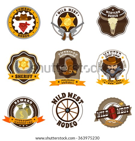 Cowboy cartoon labels set with Wild West and rodeo symbols isolated vector illustration  - stock vector