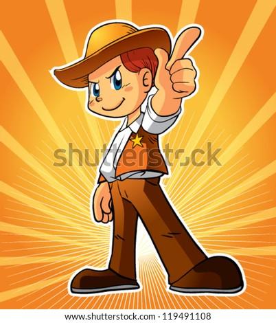 cowboy character - stock vector